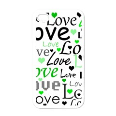Green  Valentine s day pattern Apple iPhone 4 Case (White)