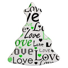 Green  Valentine s day pattern Christmas Tree Ornament (2 Sides)