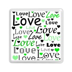 Green  Valentine s day pattern Memory Card Reader (Square)