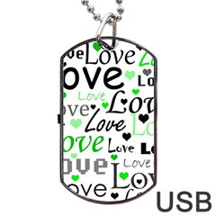Green  Valentine s day pattern Dog Tag USB Flash (Two Sides)