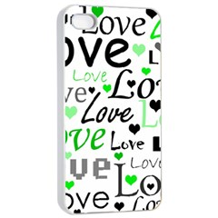 Green  Valentine s day pattern Apple iPhone 4/4s Seamless Case (White)