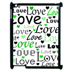Green  Valentine s day pattern Apple iPad 2 Case (Black)