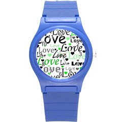 Green  Valentine s day pattern Round Plastic Sport Watch (S)