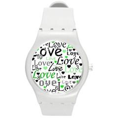 Green  Valentine s day pattern Round Plastic Sport Watch (M)