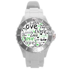 Green  Valentine s day pattern Round Plastic Sport Watch (L)