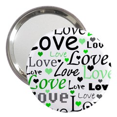 Green  Valentine s day pattern 3  Handbag Mirrors