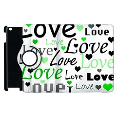Green  Valentine s day pattern Apple iPad 3/4 Flip 360 Case