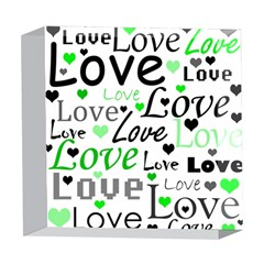Green  Valentine s day pattern 5  x 5  Acrylic Photo Blocks