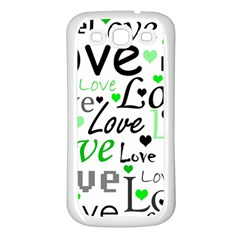 Green  Valentine s day pattern Samsung Galaxy S3 Back Case (White)