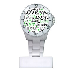 Green  Valentine s day pattern Plastic Nurses Watch