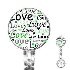 Green  Valentine s day pattern Stainless Steel Nurses Watch