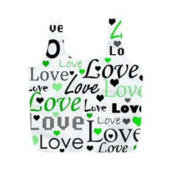 Green  Valentine s day pattern Full Print Recycle Bags (M)