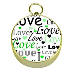 Green  Valentine s day pattern Gold Compasses