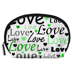 Green  Valentine s day pattern Accessory Pouches (Large)
