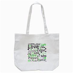 Green  Valentine s day pattern Tote Bag (White)