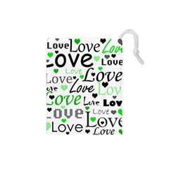 Green  Valentine s day pattern Drawstring Pouches (Small)