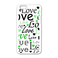 Green  Valentine s day pattern Apple iPhone 6/6S White Enamel Case