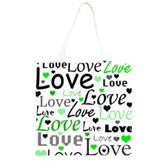 Green  Valentine s day pattern Grocery Light Tote Bag