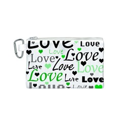 Green  Valentine s day pattern Canvas Cosmetic Bag (S)