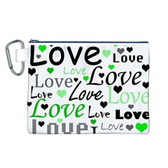 Green  Valentine s day pattern Canvas Cosmetic Bag (L)