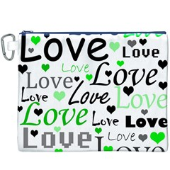 Green  Valentine s day pattern Canvas Cosmetic Bag (XXXL)