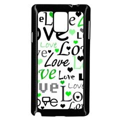 Green  Valentine s day pattern Samsung Galaxy Note 4 Case (Black)