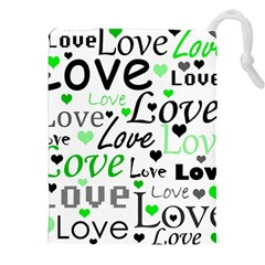 Green  Valentine s day pattern Drawstring Pouches (XXL)