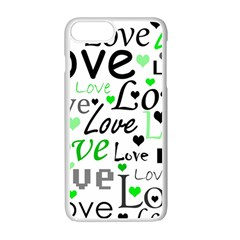 Green  Valentine s day pattern Apple iPhone 7 Plus White Seamless Case