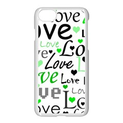 Green  Valentine s day pattern Apple iPhone 7 Seamless Case (White)