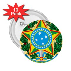 Coat of Arms of Brazil 2.25  Buttons (10 pack)