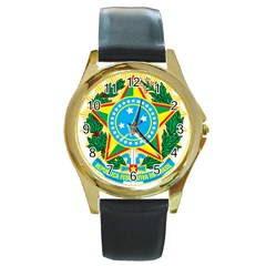 Coat of Arms of Brazil Round Gold Metal Watch
