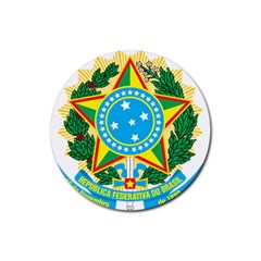 Coat of Arms of Brazil Rubber Coaster (Round)