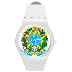 Coat of Arms of Brazil Round Plastic Sport Watch (M)