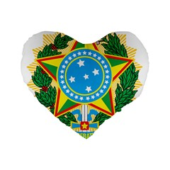 Coat of Arms of Brazil Standard 16  Premium Flano Heart Shape Cushions