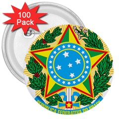 Coat of Arms of Brazil, 1971-1992 3  Buttons (100 pack)