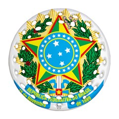 Coat of Arms of Brazil, 1971-1992 Round Filigree Ornament (2Side)