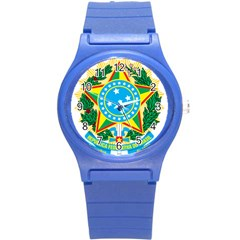 Coat of Arms of Brazil, 1971-1992 Round Plastic Sport Watch (S)