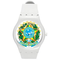 Coat of Arms of Brazil, 1971-1992 Round Plastic Sport Watch (M)