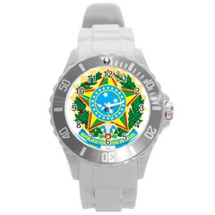 Coat of Arms of Brazil, 1971-1992 Round Plastic Sport Watch (L)
