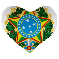 Coat of Arms of Brazil, 1971-1992 Large 19  Premium Heart Shape Cushions