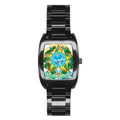 Coat of Arms of Brazil, 1971-1992 Stainless Steel Barrel Watch
