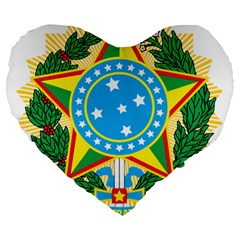 Coat of Arms of Brazil, 1971-1992 Large 19  Premium Flano Heart Shape Cushions