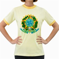 Coat of Arms of Brazil, 1968-1971 Women s Fitted Ringer T-Shirts