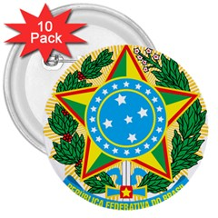 Coat of Arms of Brazil, 1968-1971 3  Buttons (10 pack)