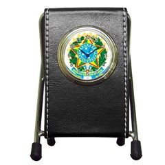 Coat of Arms of Brazil, 1968-1971 Pen Holder Desk Clocks