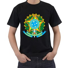 Coat of Arms of Brazil, 1968-1971 Men s T-Shirt (Black) (Two Sided)