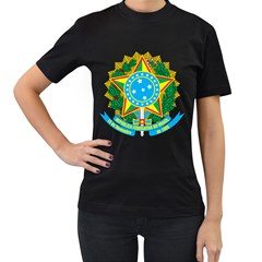 Coat of Arms of Brazil, 1968-1971 Women s T-Shirt (Black) (Two Sided)
