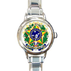 Coat of Arms of Brazil Round Italian Charm Watch