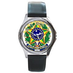 Coat of Arms of Brazil Round Metal Watch