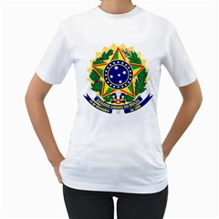Coat of Arms of Brazil Women s T-Shirt (White) (Two Sided)